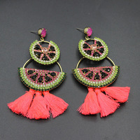 New color flash red tassel earrings exaggerated imports of Czech drilling micro-inlaid watermelon earrings female Baroque 365