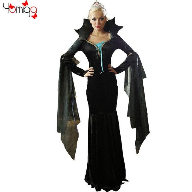 5dee8aec38a Noir élégante fantaisie longue robe classique costumes adultes mal esprit  reine costume de fête pas cher