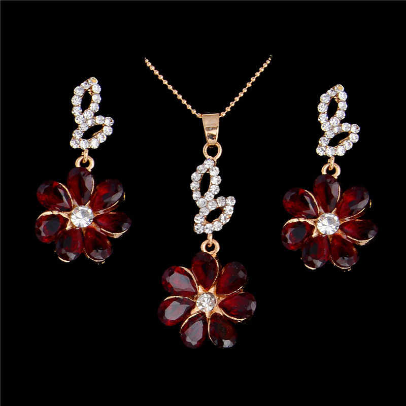 Water Drop CZ Jewelry Sets Wedding Bridesmaids Bride Crystal Floral Pendant Necklace Romantic Cute Earrings Luxury Jewelry Set
