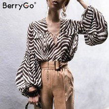 BerryGo Women blouse shirt Zebra stripe print summer blouse Bell long sleeve female top shirt Elegant lace up ladies blouse 2019(China)