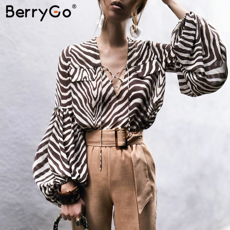 BerryGo Women   blouse     shirt   Zebra stripe print summer   blouse   Bell long sleeve female top   shirt   Elegant lace up ladies   blouse   2019