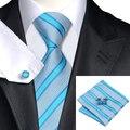 New Vogue Conjunto Clássico Listrado Azul Gravatas de Lenço Abotoaduras Gravata De Seda para Homem Terno Tecido Jacquard Laços para Homens C-568