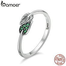 BAMOER 100% 925 Sterling Silver Dancing Leaves Leaf Green Dazzling CZ Finger Rings for Women Engagement Jewelry Anel Gift SCR093(China)