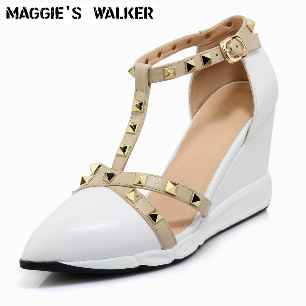 Maggies Walker Womens Spring Genuine Leather Fashion Shoes Pointed-toe Retro Style High-heeled Rivets Wedges Shoes Size 35~39Maggies Walker Womens Spring Genuine Leather Fashion Shoes Pointed-toe Retro Style High-heeled Rivets Wedges Shoes Size 35~39