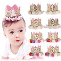 ZLJQ-gorro de corona en polvo Multicolor para Baby Shower, decoraciones para fiesta de cumpleaños, suministros de decoración, 1 ud.