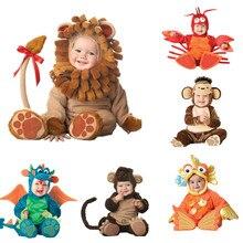 Карнавальный Комбинезон для маленьких мальчиков и девочек с изображением животных, карнавальный костюм на Хэллоуин для малышей, костюм для мальчиков, комбинезоны для девочек, одежда для младенцев