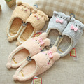 2017 Autumn & Winter Children Cute Cartoon Short Plush Animal Slippers Home Kids Cat Bear Anti-Slip Rubber Bottom Shoes,EJ041