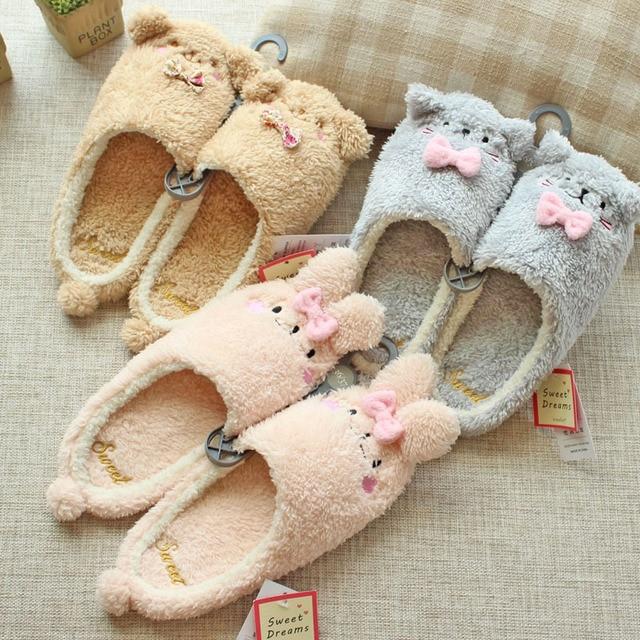2017 Autumn & Winter Children Cute Cartoon Short Plush Animal Slippers Home Kids Cat Bear Anti-Slip Rubber Bottom Shoes,EJ041
