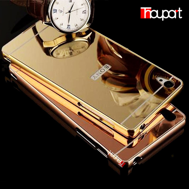 Z3Compact Case Gold Plated Aluminum Metal Frame + Mirror Acrylic Back Cover For Sony Xperia Z3 Compact /Z3 Mini Sony D5803 D5833