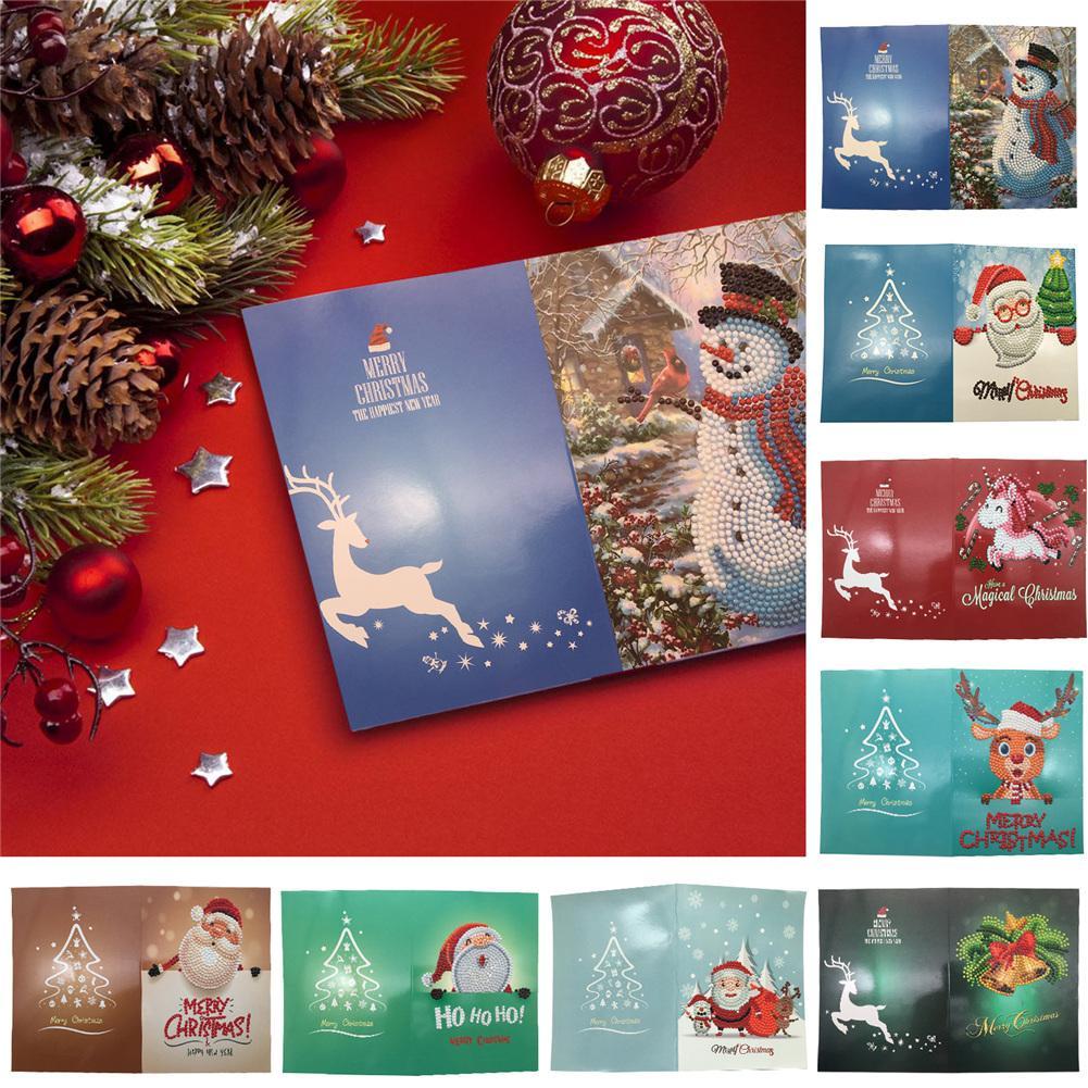 5D Diamond Painting Christmas Snowman Pattern Greeting Card DIY Handmade Full Rhinestone Needlework Cross Stitch Mosaic Postcard
