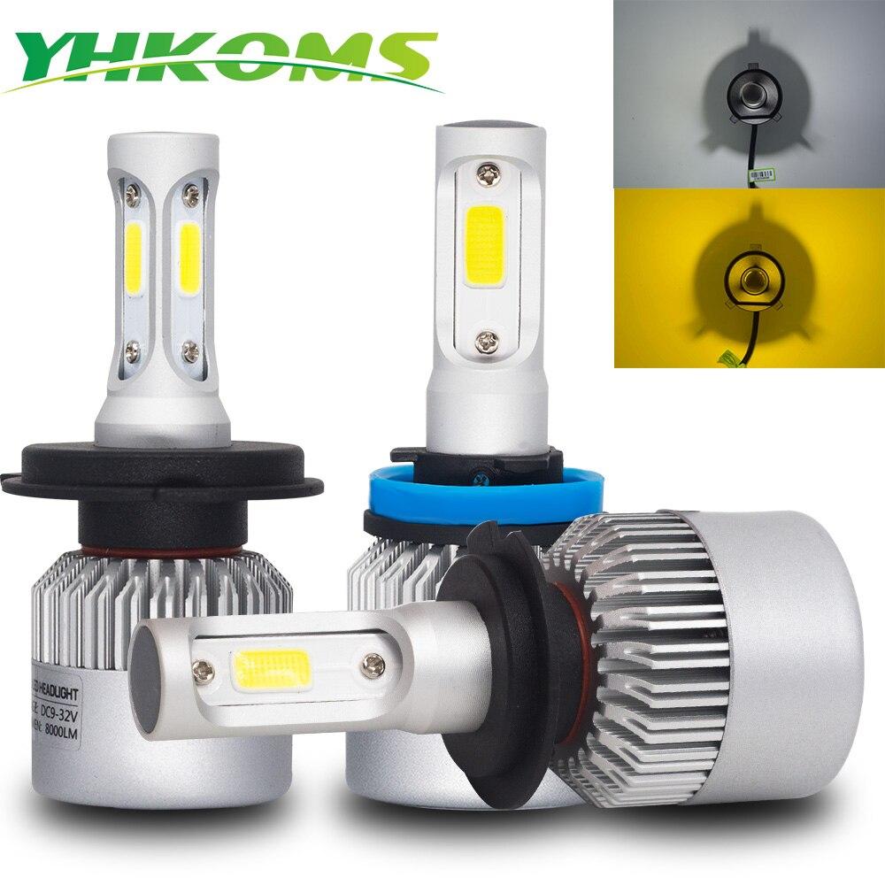 YHKOMS Car Headlight H4 H7 H11 LED H1 H3 H8 H9 9005 9006 880 5202 H13 Auto Fog Light 6500K 3000K White Yellow Light COB 12V 24V