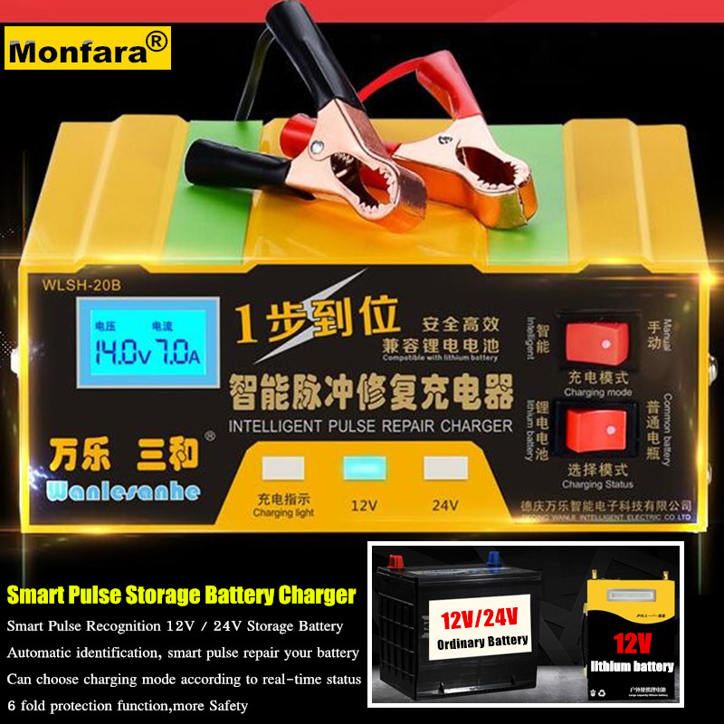 180W Smart Automatic 12V/24V Car Storage Battery Charger LCD 5-stage Intelligent Pulse Repair Lead Acid Lithium Battery 3-150AH цены