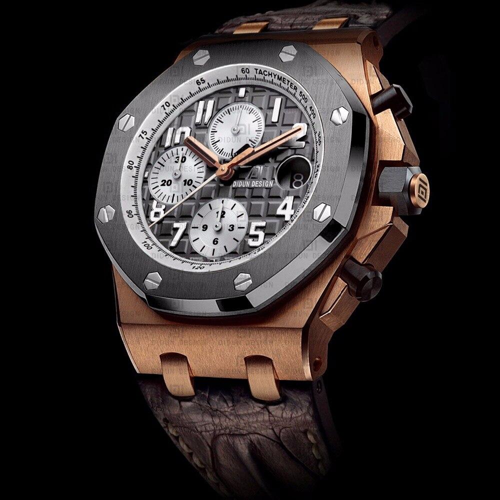 didun мужские часы лучший бренд полунавесной люкс мужчины спорт кварцевые часы стали военные наручные часы кожаный ремешок часы хронограф секундомер