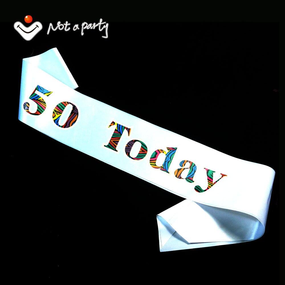 Happy Birthday 50 Souvenirs Party Sash Multi Color