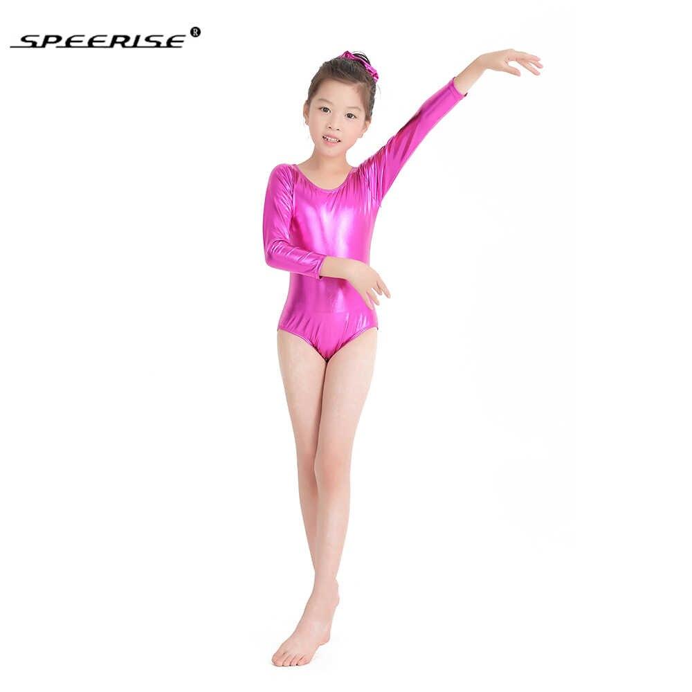 Горячая Распродажа балет скейт трико для девочек металлический гимнастика rombers с длинными рукавами и золотым Купальник костюм из спандекса Детская Одежда для танцев
