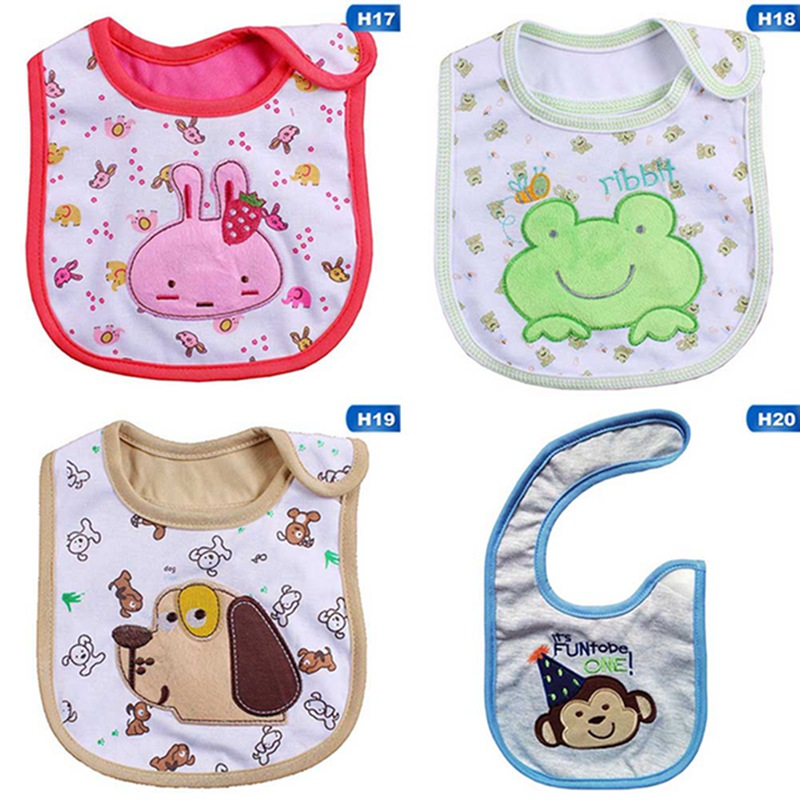 1pc 2018 Hot Sale Bibs Lovely Cute Cartoon Pattern Toddler Baby Waterproof Saliva Towel 20 Styles Choosed Cotton Baby Bibs