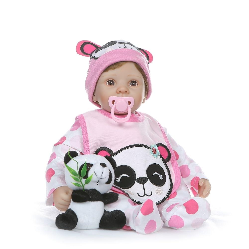 NPK 55 CM de peluche suave cuerpo de silicona 1/4 miembros muñeca ojos parpadean dulce bebé niña regalo de cumpleaños-in Muñecas from Juguetes y pasatiempos    2
