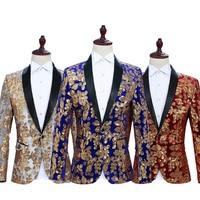 Men Perform Sequined Suits and Coats Blazers 2019 Single Button Mens Blazer Jacket Blue Red Black Flower Men Blazers