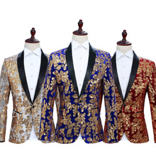 Men Perform Sequined Suits and Coats Blazers 2019 Single Button Mens Blazer Jacket Blue Red Black Flower