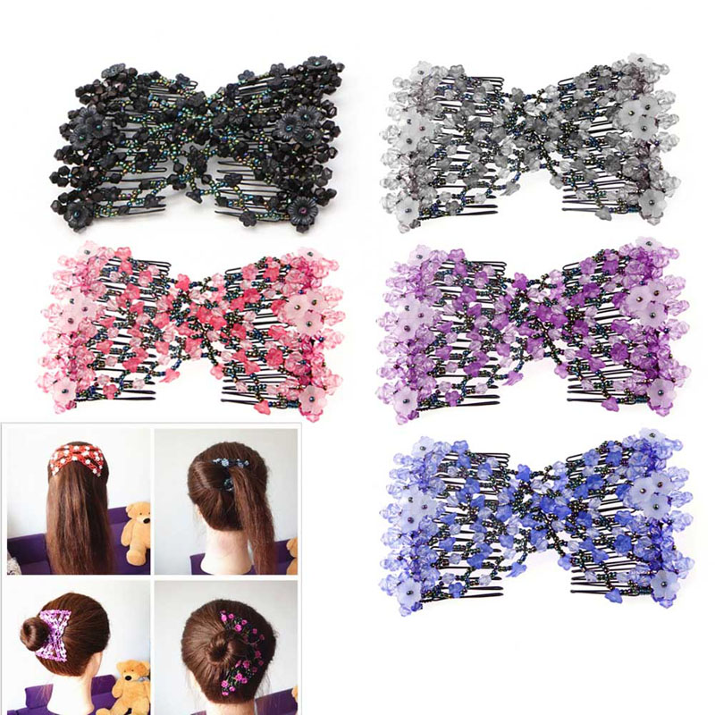 Kemei Magic Beads Elasticity Double Hair Comb Clip Stretchy Hair Combs Clips Fashion Pro