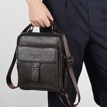 Meigardass Hakiki Deri Omuz çantası Erkekler Seyahat Crossbody