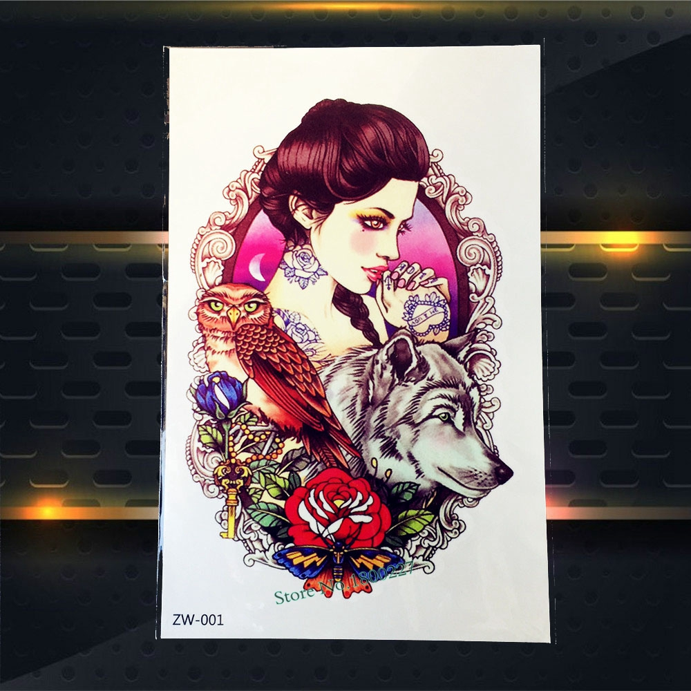 1PC Hot Sale Large Body Arm Art Tattoo Women Wolf Owl Rose Design Temporary Tattoo Sticker Waterproof Back Leg Tatoo Sleeve PZW1