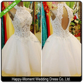 2016 Actual Images Knee Length Halter Beading Lace Short Wedding Dress 2016 Real Pictures Crystal vestido de casamento (SL-W17)