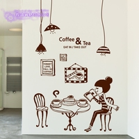DCTAL Coffee Sticker Girl Light Decal Cafe Poster Vinyl Art Wall Decals Pegatina Quadro Parede Decor Mural Coffee Sticker