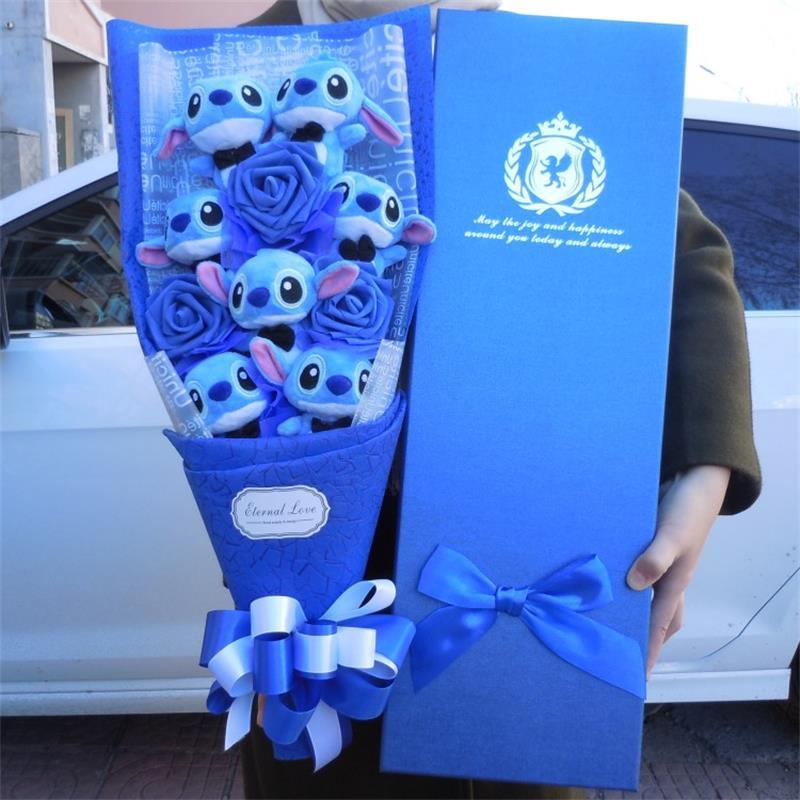 Kawaii Point De Jouets En Peluche Anime Lilo et Stitch Doux Animal En Peluche Poupées Stich En Peluche bouquet cadeau boîte Enfants Cadeau D'anniversaire