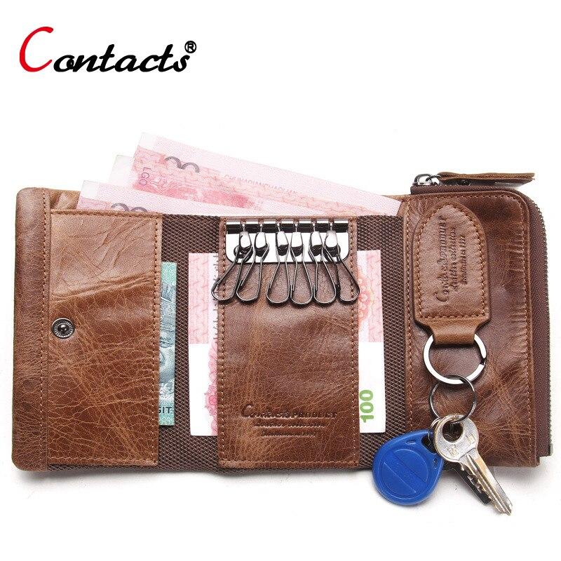 CONTACT S Men Wallet Key Case Key Holder Wallet Coin Purse Genuine Leather Housekeeper Car Key Organizer Bag Small Portfolio