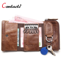 CONTACT S Genuine Leather Men Wallet Fashion Key Wallet Multi Function Coin Purse Housekeeper Keys Women