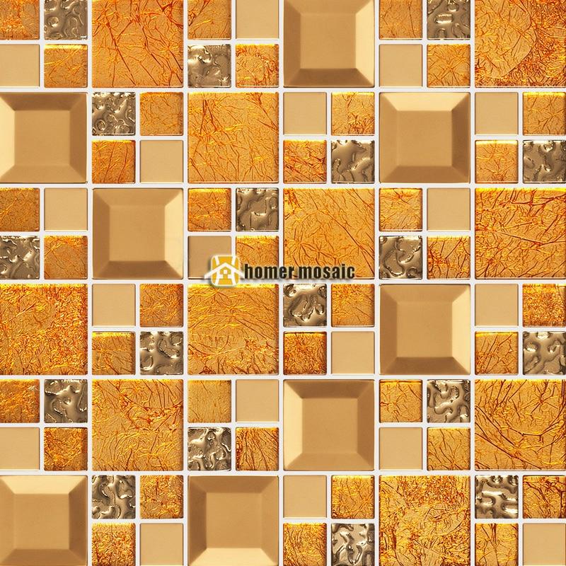 Aliexpress.com : Gold Gelb Kristallglas Gemischt Edelstahl Mosaik Fliesen  HMGM2085A Für Küche Backsplash Badezimmer Dusche Flur Wand Von  Verlässlichen Tile ...
