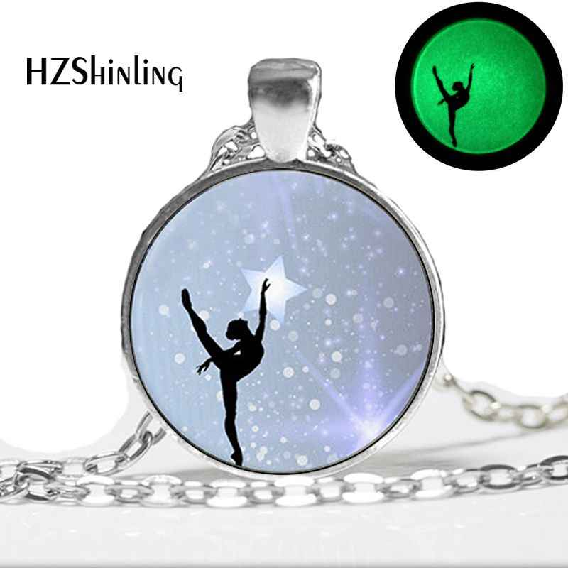 Glow in The Dark Ballerina Pendant Necklace Ballet Dance Jewelry Glowing Necklace Pendant Gymnastics Lovers Gifts