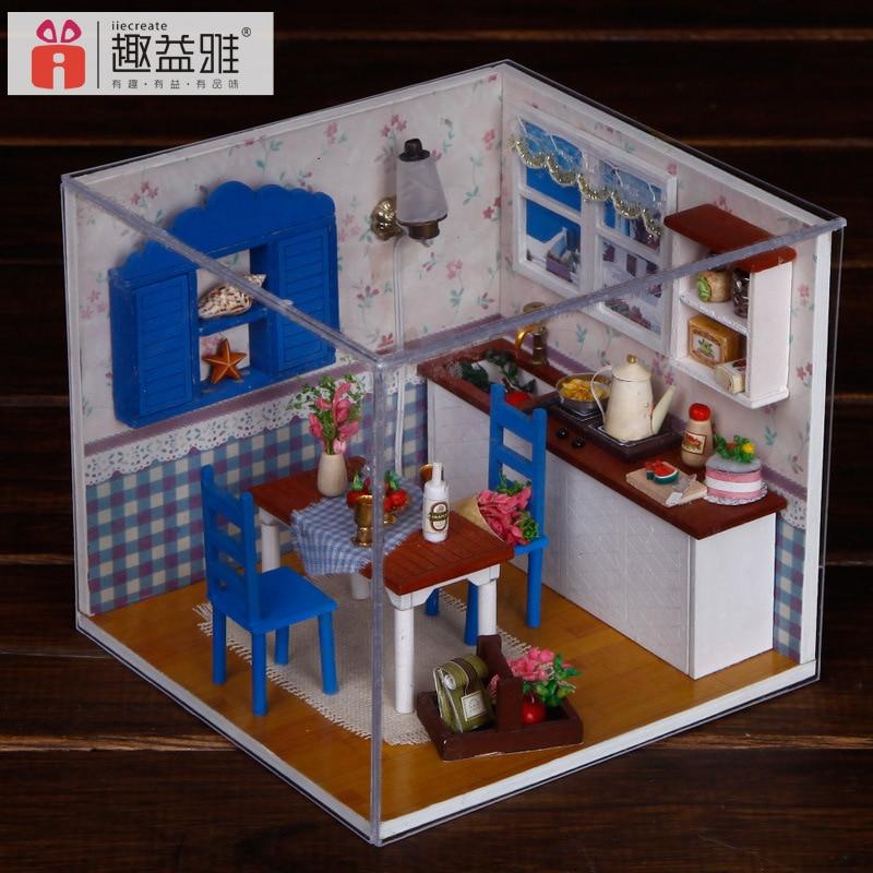 M005 Miniatur Diy Kayu Rumah Boneka Perabot Dapur Mainan Miniatura Furniture Cahaya Penutup Debu Dollhouse Di Dari Hobi