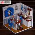 M005 Miniature DIY wooden doll house Kitchen Furniture Toy Miniatura ( furniture,Light,dust cover ) Kitchen dollhouse