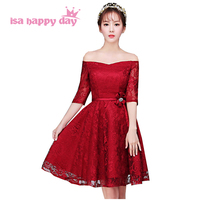 elegant women lace wine red simple formal engagement special occasion dresses homecoming short sexy party dress 2019 gown H3879