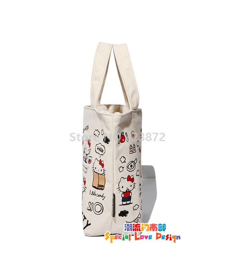 d368fb5673f2 Kawaii Cute Hello Kitty Canvas Bag Women Girls Kids Lunch Bag for School  Cartoon Picnic Food Lunch Box Bags Tote Zipper. 19  25 20 21 22