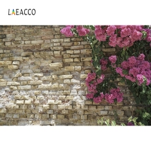 Laeacco  Flowers Stone Floret Wall Portrait Grunge Photography Backgrounds Customized Photographic Backdrops For Photo Studio