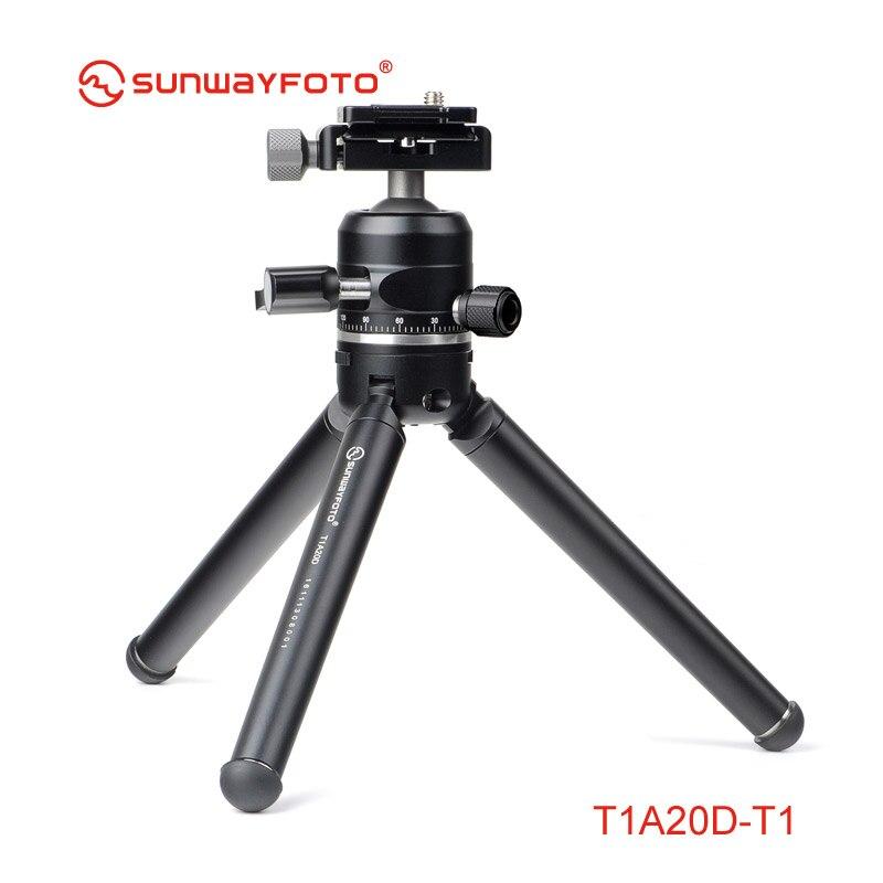 SUNWAYFOTO T1A20D-T Mini trépied professionnel pour support de caméra Para Movil Tripodes Dslr et accessoires de téléphone avec tête à billes et rapide