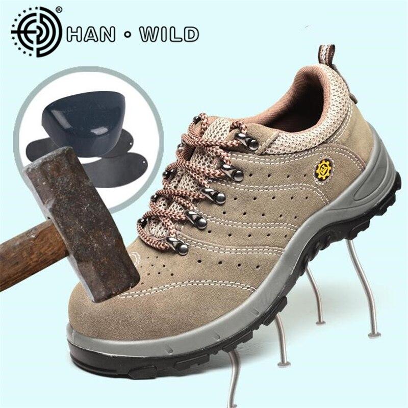Cuir Chaussures Khaki Bottes En De Travail Sécurité Safetoe Hommes Anti crevaison Véritable Acier Embout AUWq4THwF