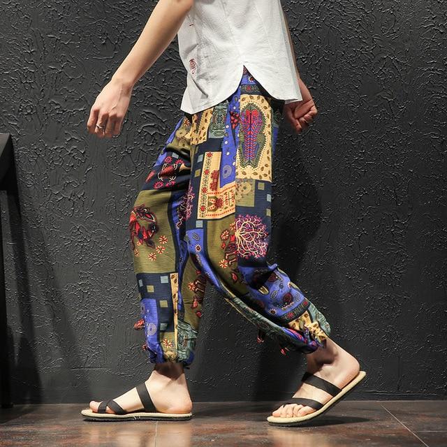 Men Harem Pants Vintage Hip Hop Baggy Wide Leg Pants Streetwear   Elastic Waist Printed Boho Trousers Male Cross Pants GM103 74