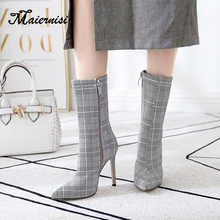 MAIERNISI Spring Fashion Women Boots Pointed Toe Elastic Boots  thin Heel High Heels Shoes Autumn Woman Female Socks boot стоимость