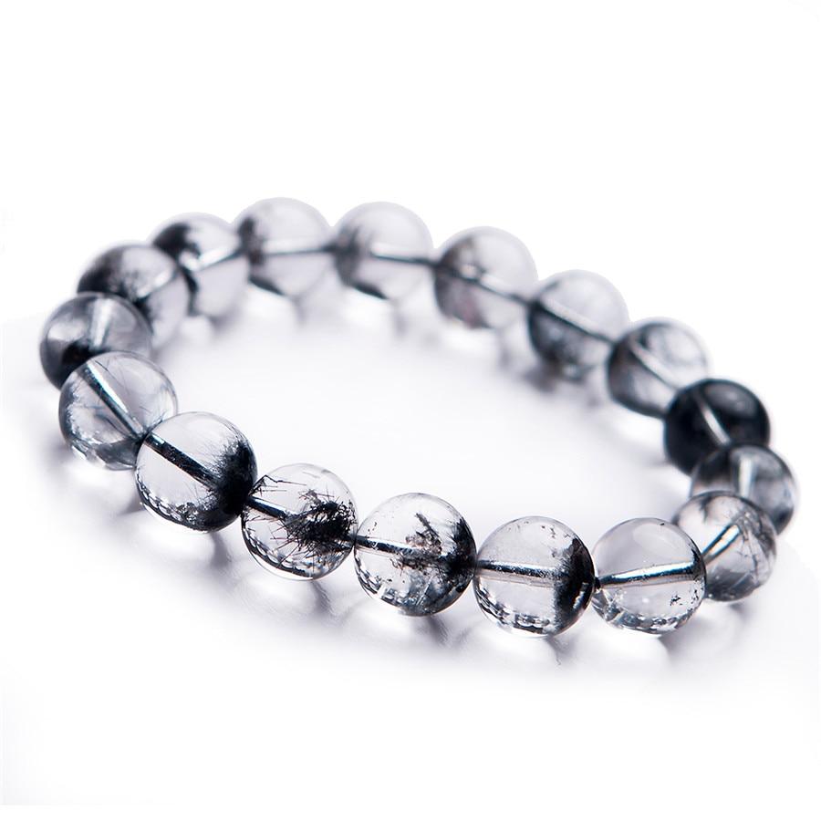 Drop Shipping Natural Black Rutilated Quartz Round Crystal Beads Bracelet Trendy Men Women Crystal Round Beads Bracelet цены