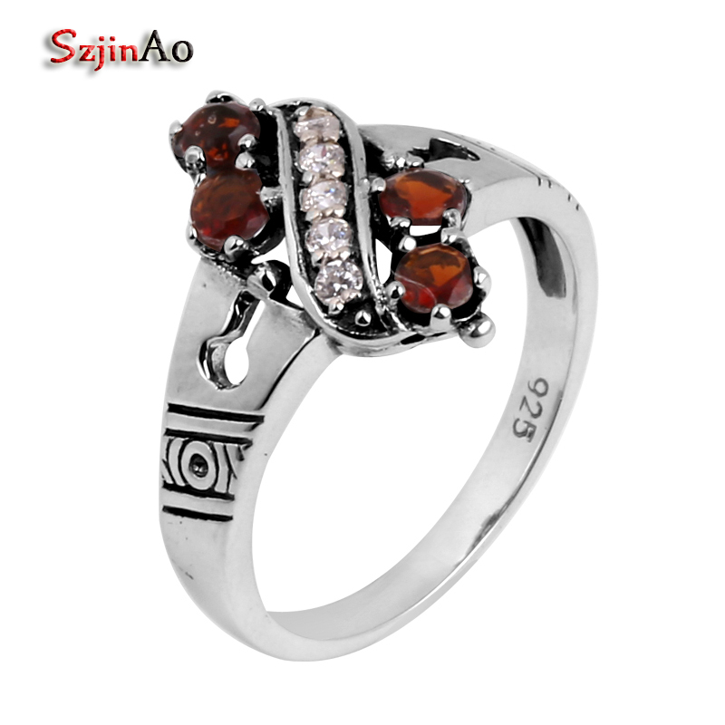 Szjinao High quality wholesale jewelry processing gold and silver details antique jewelry crystal women 925 sterling silver ring