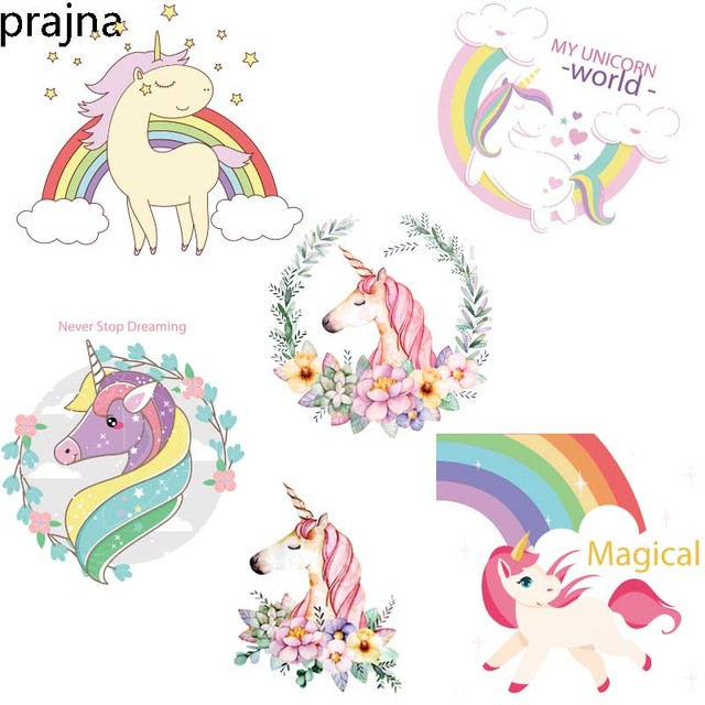 Prajna Unicorn Flower Patches Rainbow Iron on Transfers ...