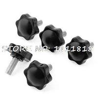 35mm Height 8mm X 32mm Screw Mount Pentagram Plastic Clamping Knob Grip X 5