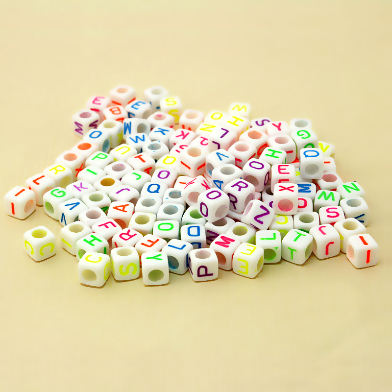 Beads Efficient 100pcs/lot 6x6mm Cube Shape Big Hole White Beads With Assorted Neon Colour Alphabet Letter Acrylic Loose Diy Beads Elegant Appearance
