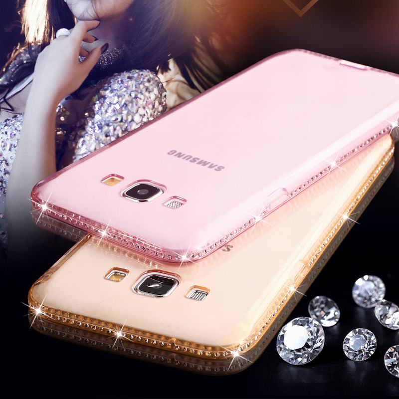 LOVECOM For Samsung Galaxy A5 A7 J5 J7 2015 Case CZ Crystal Frame Clear Soft TPU Phone Case Slim Transparent Protect Cover Shell
