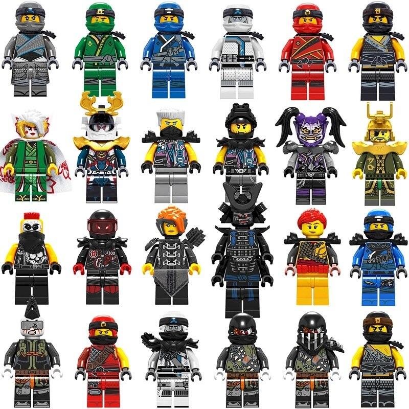 24 pièces nouveau Legoing Ninjago figurines masque blocs Wu KAI JAY Lloyd COLE ZANE GARMADON Harumi Mr. E avec des blocs d'armes jouets pour les enfants