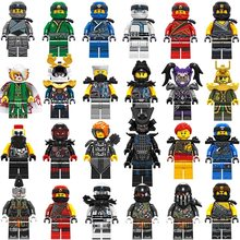 24PCS New Legoing Ninjago Figures Mask Blocks Wu KAI JAY Lloyd COLE ZANE GARMADON Harumi Mr.E With Weapons Blocks Toys For Kids(China)